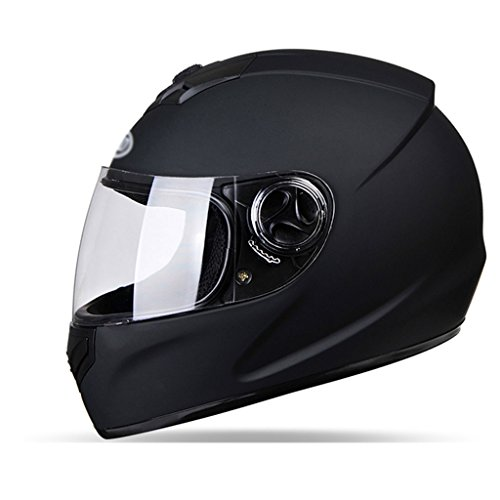 Motorcycle Helmet Male Female Four Seasons Universal Full Cover Electric Vehicle Safety Helmet Warmth Anti-Fog Full Face Helmet (Color : Gray) by Moolo