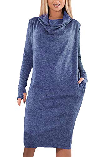 Cerimonia Vestito Blu Autunno Primaverile Collo Vestiti Donna Puro Confortevole Abiti Ragazza Fashion Maniche Sciarpa Colore Eleganti Lunghe wPTkZuOXil