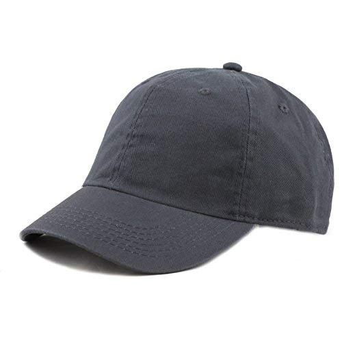 The Hat Depot Kids Washed Low Profile Cotton and Denim Baseball Cap (Charcoal) (Baby Ball Cap)