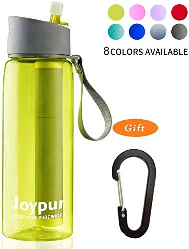joypur Portable Filtered Water Bottle - Emergency Water Bottle with Purifier 4-Stage Integrated Filtration Water Bottle Straw for Camping Hiking Backpacking Travel 24 Oz Leakproof