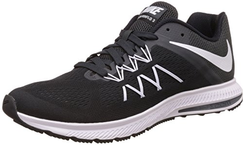 NIKE Mens Air Zoom Winflo 3 Running Shoe Black/White-Anthracite 10.5 D(M) US Review