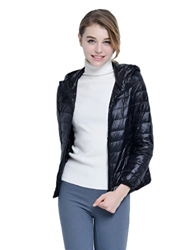 YOUJIA Hooded Puffer Coat Women's Packable Black Lightweight Down Jacket Down Winter RYFwYrqtxI