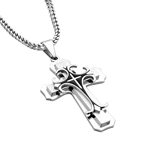 MILAKOO Stainless Steel Cross Pendant Mens Franco Chain Necklace 3mm Wide, 24 (Special Franco Chain)
