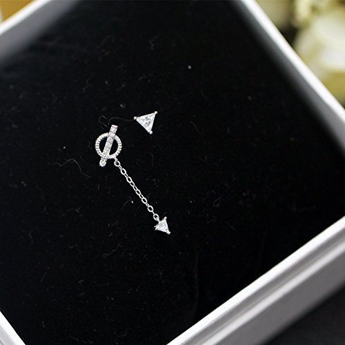 usongs Quintana Hot s925 silver earrings asymmetric triangle tassel earrings women girls earrings with silver inlay ()