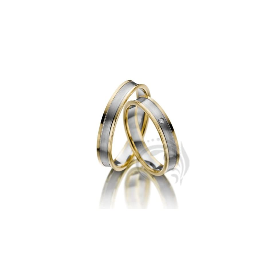 14k White and Yellow Gold His Her Rings 01 Ct 4 Mm