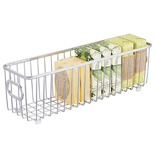 (mDesign Metal Bathroom Storage Organizer Basket Bin - Farmhouse Wire Grid Design - for Cabinets, Shelves, Closets, Vanity Countertops, Bedrooms, Under Sinks - Long - Chrome)