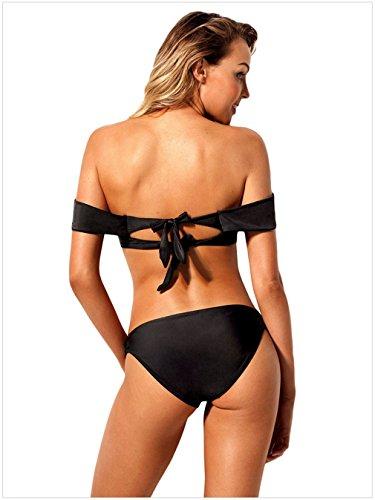 Bagno Brasiliano Push Spalle Up Spiaggia L Swimwear Da Da Bagno Bikini Imbottito Donna Scoperte Costume Bikini Da Con LCWORD Nero I4gwS