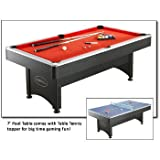 Carmelli NG1023 7' Pool Table with Table Tennis Featuring an Easy Assembly and Includes Cues Net Post 2 Paddles and Tennis