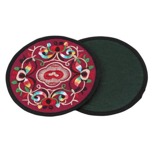 Useful Cup Teapot Mat Embroidery Floral Ethnic Home Coaster Drinks Cup Mats LS (Color - Red)