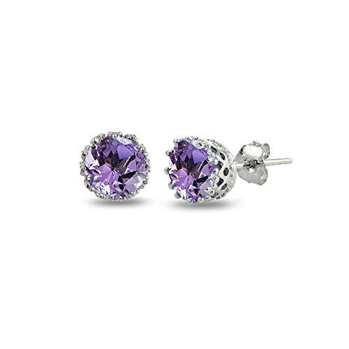 Sterling Silver Amethyst Crown Stud Earrings ()