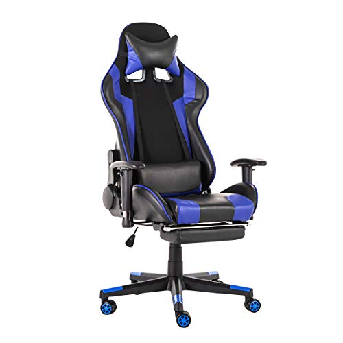 KingSo Gaming Chair Racing Office Computer Game Chair Ergonomic Backrest Video Game Chair Racing PU Leather with Headrest and Lumbar Support (Blue)