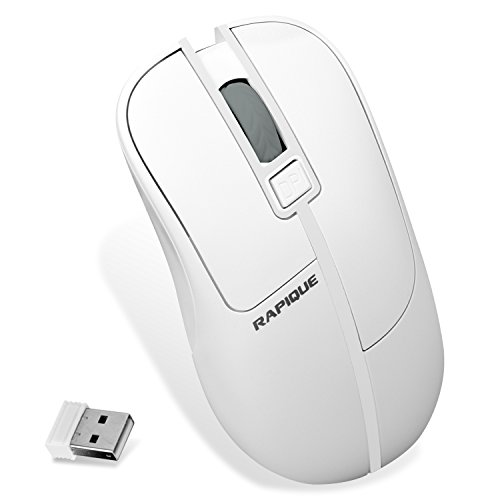 Wireless Mouse, RAPIQUE Portable 2.4G Optical Office Mice With USB Nano Receiver For Laptop,PC,Macbook,Notebook,Computer,4-Button 3 DPI Adjustment Levels (white)