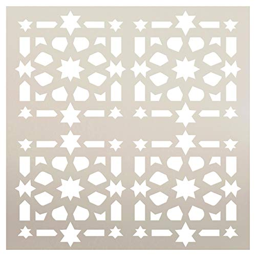 (Old World Quilt Tile Shape Stencil by StudioR12 | Wood Sign | Reusable Mylar Template | Wall Decor | Multi Layering Art Project | Journal Art Deco | DIY Home - Choose Size (12
