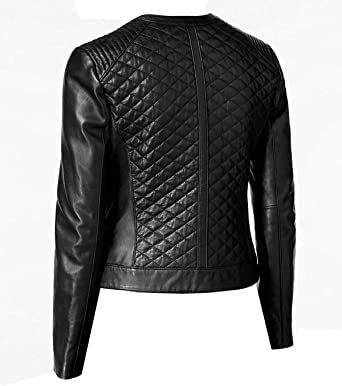 Women's Perfection Personified Stylish Quilted Black Leather Jacket With a Complimentary T-Shirt