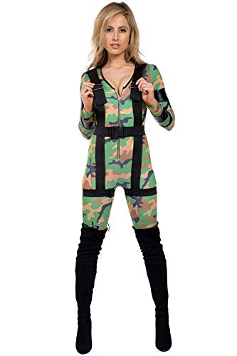 Tipsy Elves Women's Halloween Army Costume Bodysuit - Military Costume Bodysuit for Women: X-Large Green