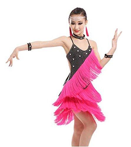 Robe de danse latine professionnelle / dance dance de danse / dance dance / shining show show show , black pink , 160cm