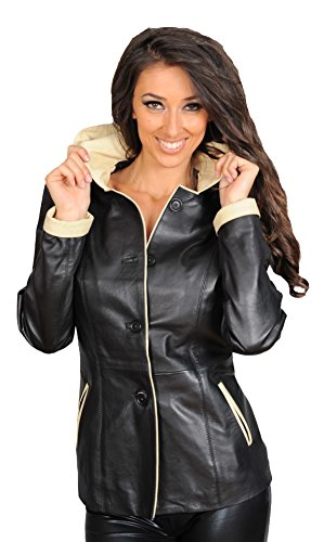 Womens Genuine Leather Blazer Jacket Ladies Mid Length Fitted Hooded Black Coat Eva (Medium) ()