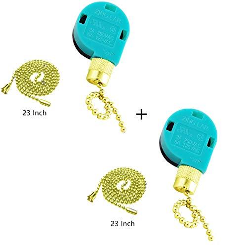 Ceiling Fan Switch Zing Ear Pull Chain Switch ZE-268S6 3 Speed 4 Wire Pull Chain Switch Control Ceiling Fan Replacement Speed Control Switch (2 Pack Gold)