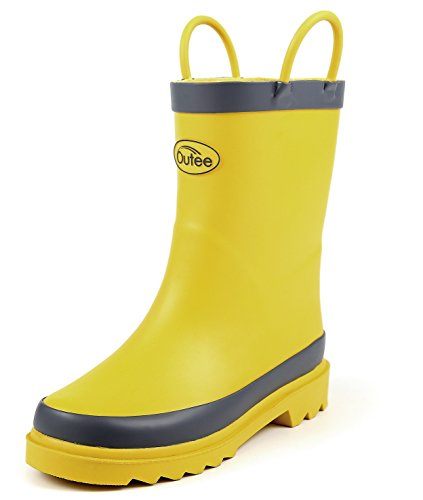 Outee Toddler Girls Boys Kids Rubber Rain Boots Waterproof Shoes Yellow In Solid Color With Easy On Handles Cute Fun Removable Insoles Anti-Slippery Durable Sole With Grip (Size 5) (Yellow Wellies)