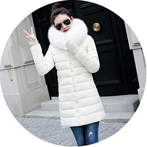 Winter Jacket Women Coat Women Fake Fur Collar Jacket Women Long Parkas,Beige 2,XL