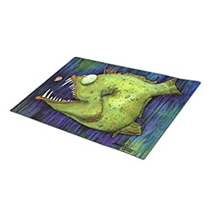 Face the Sea Hungry Ned Fish Watercolor By Mike Quinn Custom Doormat