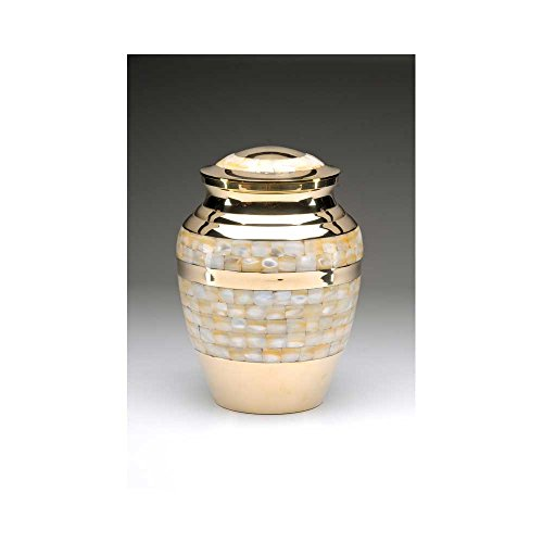 Gold Mother of Pearl Cremation Urn for Adult Ashes - Polished Nickle Accents