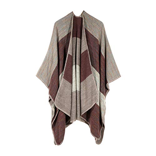Clearance ❤ Women Coat JJLIKER Winter Knitted Striped Patchwork Cashmere Poncho Capes Shawl Sweater Cardigan