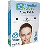 Essential Values Hydrocolloid Acne Patch (72 Count), A Drug Free Treatment That Fights Pesky Pimple Blemishes, Promotes Healing & Prevents Scarring - Comparable to COSRX & Nexcare Patches