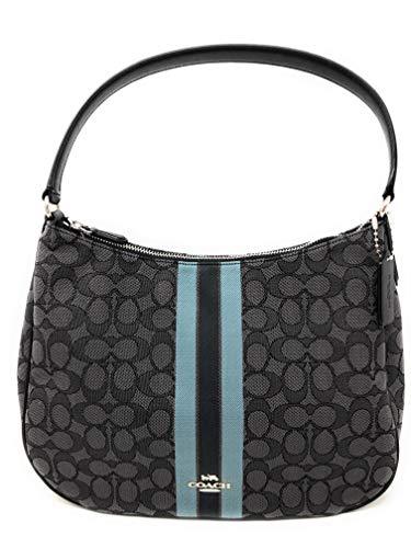 Coach Signature Jacquard with Stripe Shoulder Hobo Handbag SV/Black/Multi