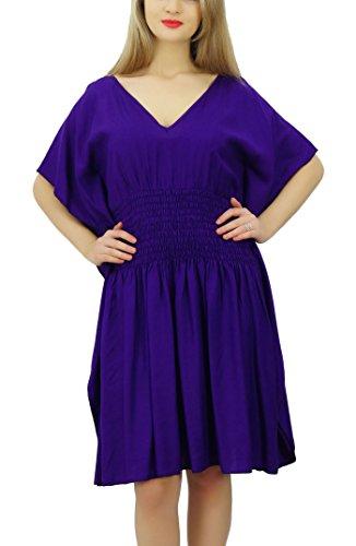 Bimba de Mujeres corto Rayón Kaftan kimono de la manga de la cintura de Smocked la playa del verano Coverup Púrpura