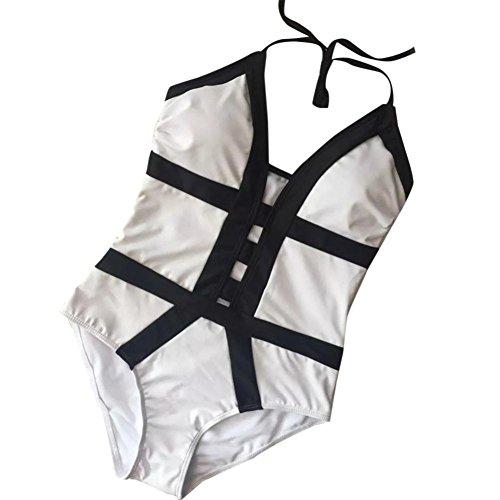 Witsaye Costumi da Bagno Backless One Piece da Donna Bikini Beach Costume da Bagno Imbottiti, Bianca