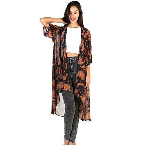 Kemilove Women Sun and Moon Print Chiffon Irregular Kimono Cardigan (M, Brown) -