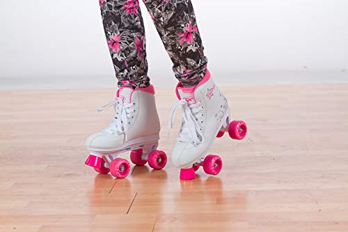Roller Derby U324G-01 Girls Roller Star 350 Quad Skate, Size 1, White/Pink