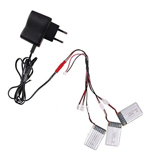 3 batteries de rechange 700mAh Lipo d'origine pour quadrirotor X5C X5SC X5SW de Syma avec câble de chargement multiple et chargeur secteur