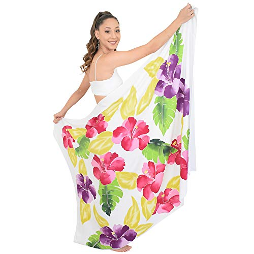 ISLAND STYLE CLOTHING Ladies Sarong White Lagoon Floral Hand-Painted Beachwear + Free Coconut Clip