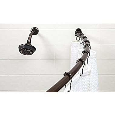 Bath Bliss Expandable 42 to 72-inch Curved Shower Curatin Rod, Bronze