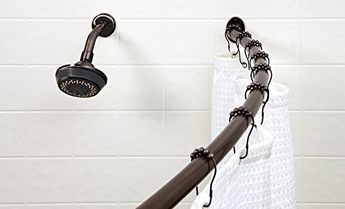 Bronze Shower Rod (Bath Bliss Expandable 42 to 72-inch Curved Shower Curtain Rod, Bronze)