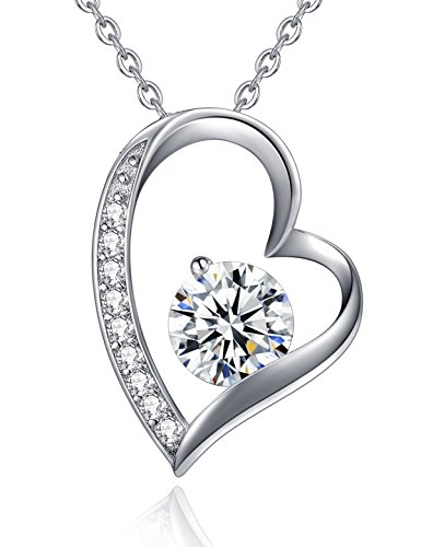 You Are The One White Gold Plated Love Heart Pendant Necklace CZ Sterling Silver Necklaces for Women Valentine's Day Gifts Anniversary Gifts for Her Birthday Gifts for Wife Girlfriend Girls (1 Wife Heart Pendant)