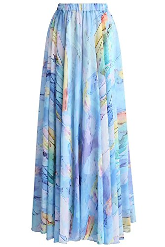 Grace Elbe Women's Summer Boho Floral Print Pleated Chiffon Long Maxi Skirt Dress Light Blue Medium