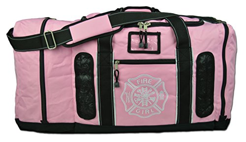 (Newly Redesigned Lightning X Firefighter Fireman Quad-Vent Turnout Gear Bag w/Helmet Compartment, Mesh Vents & Maltese Cross for First Responder (Pink))