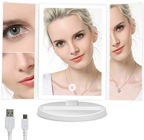 Duomishu Lighted Makeup Mirror, Vanity Mirror with 24 LED Lights and Magnification, Tri-fold Countertop Magnifying Mirror with Touch Dimmer, Battery and USB Powered