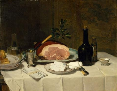 (Oil Painting 'Philippe Rousseau-Still Life With Ham,1870', 8 x 10 inch / 20 x 26 cm , on High Definition HD canvas prints is for Gifts And Bed Room, Gym And Home Theater Decoration, fast)