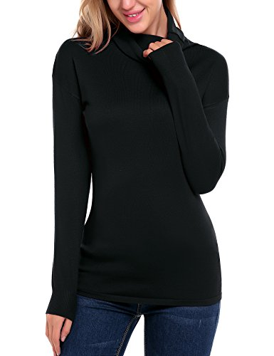 Women Cotton Solid Long Sleeve Loose Fit Cowl-Neck Pullover Sweatershirt (Solid Neck Cowl Sweater)