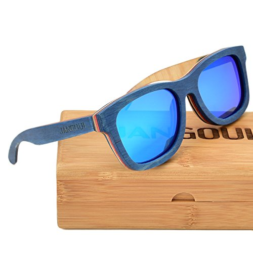 f1c0c686e5 JANGOUL Polarized Sunglasses Blue Skateboard Wood Frame For Men   Women  (Blue Skateboard Wood Frame