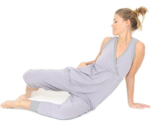 Prancing Leopard Women's Casual Yoga Jumpsuit ''Toulouse'' in Organic Cotton - S - Silver Grey by Prancing Leopard