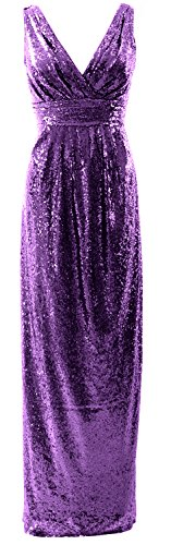 Long Dress Bridesmaid Neck Gown Sequin Formal Gorgeous MACloth Party Wedding Violett V 7qx5Ft