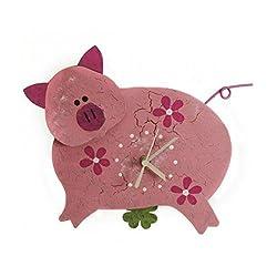 Oxidos Cute Pink Pig Wall Clock - Fair Trade Metal Wall Decor Clocks
