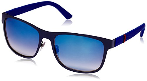 Gucci Men's Square Sunglasses, Matte Blue/Grey Multi, One - Gucci Sunglasses Designer