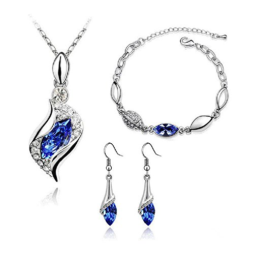 l Cubic Zirconia with Platinum Plated Chain Necklace Angel Elf Pendant Mosaic Crystal Necklace Bracelet and Earrings Set Necklace 18
