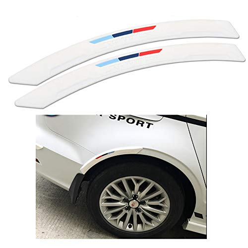 COSMOSS Car Wheel Fender Eyebrow Edge Trim Protector Rubber Strips Side Bumper Protection Guard Automobile Anti-Scratch Corner Pad Fit Most Car SUV Pickup Truck (White, 40cm)